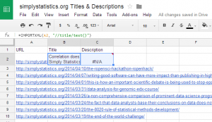 Scrape page titles & meta descriptions with Google Drive.